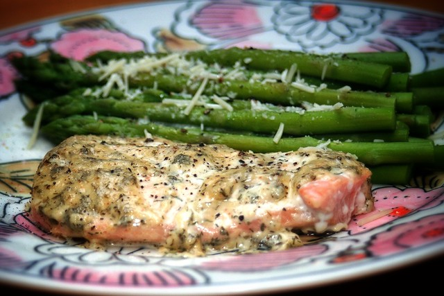 Baked salmon with creamy dill sauce and Parmesan asparagus | Flickr ...