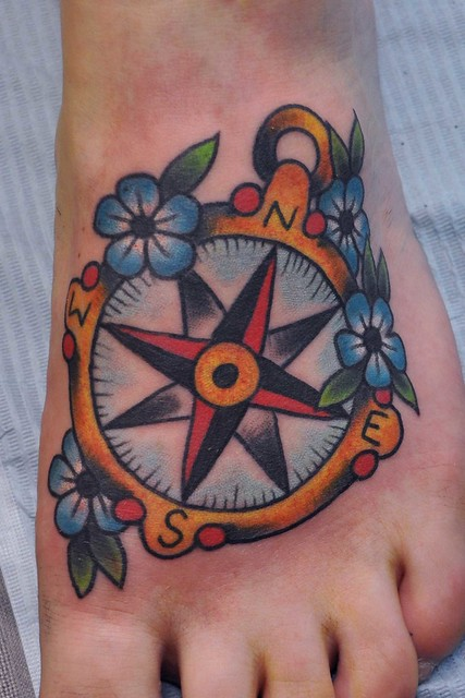 Traditional Compass Tattoo | A fun one from last week ...