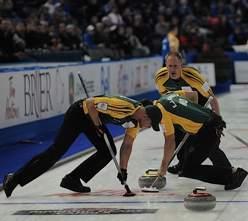 Edmonton Ab.Mar4,2013.Tim Hortons Brier.Northern Ontario skip Brad Jacobs,lead Ryan Harnden,second E.J.Harnden.CCA/michael burns photo | by seasonofchampions