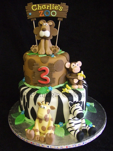 Zoo Birthday Cake Madeira Cake Covered In Hand Cut