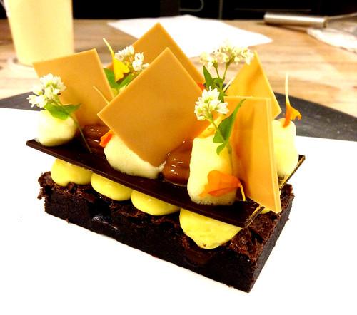 FLOURLESS CHOCOLATE CAKE, PASSION FRUIT CREMEUX, DULCE DE ...