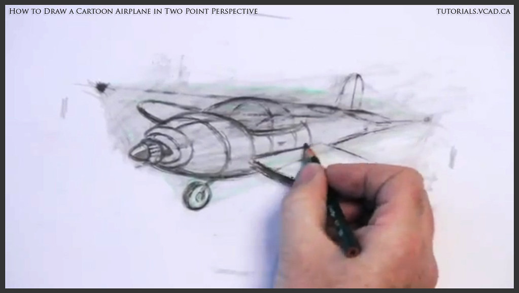Learn How To Draw A Cartoon Airplane In Two Point Perspect Flickr