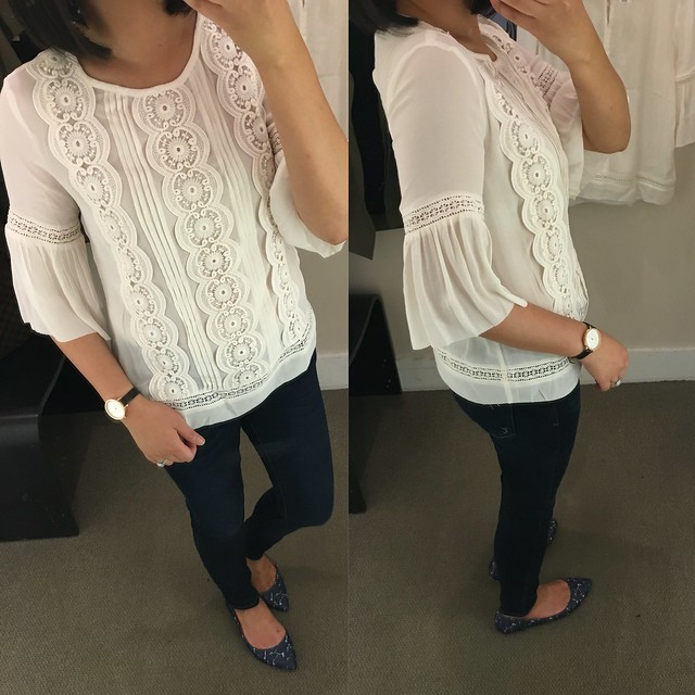 LOFT Lacy Bell Sleeve Top, size XSP