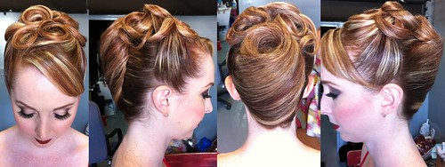 classic-updo-french-roll-pincurls | by vanmobilehair