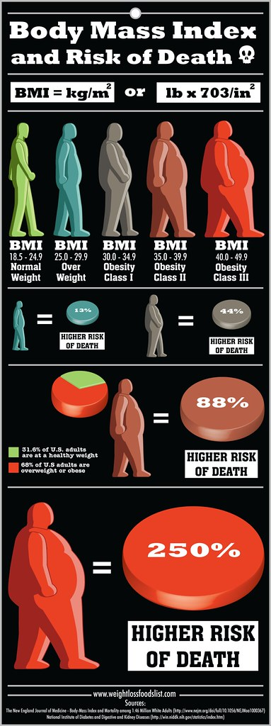 Normal Body Weight Chart: Body Mass Index (BMI) and Risk of Death Infographic | Flickr,Chart