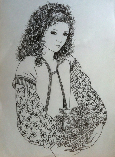 Girl with Curly Hair (Pen and Ink Drawing) | I recently ...