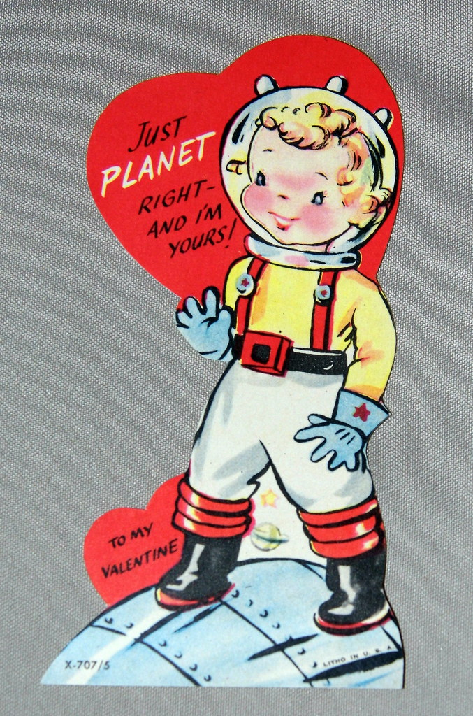 Vintage Space Boy Valentine Day Card Just Planet Right – Boy Valentines Day Cards