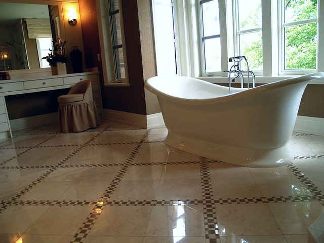 Marble Tile Bathroom Floor With Mosaic Border Flickr Photo Sharing