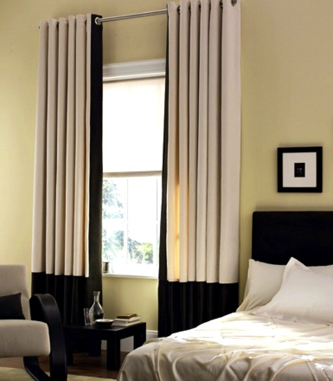 White Kitchen Curtains With Black Trim