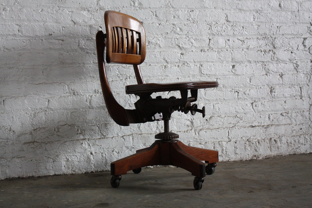 Stunning Sikes Vintage Scuplted Walnut Industrial Swivel O