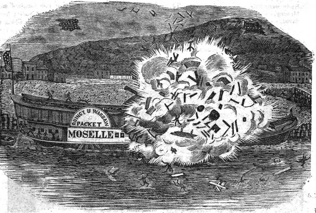 The Explosion Of The Steamboat Moselle A Print 1841