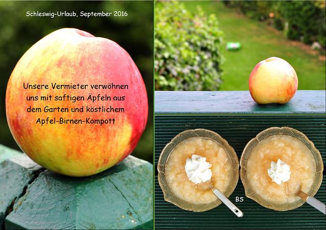 Schleswig-Urlaub September 2016 ... Zum Naschen: Äpfel, Birnen, Bonbons, Apfel-Birnen-Kompott ... Fotos und Collagen: Brigitte Stolle