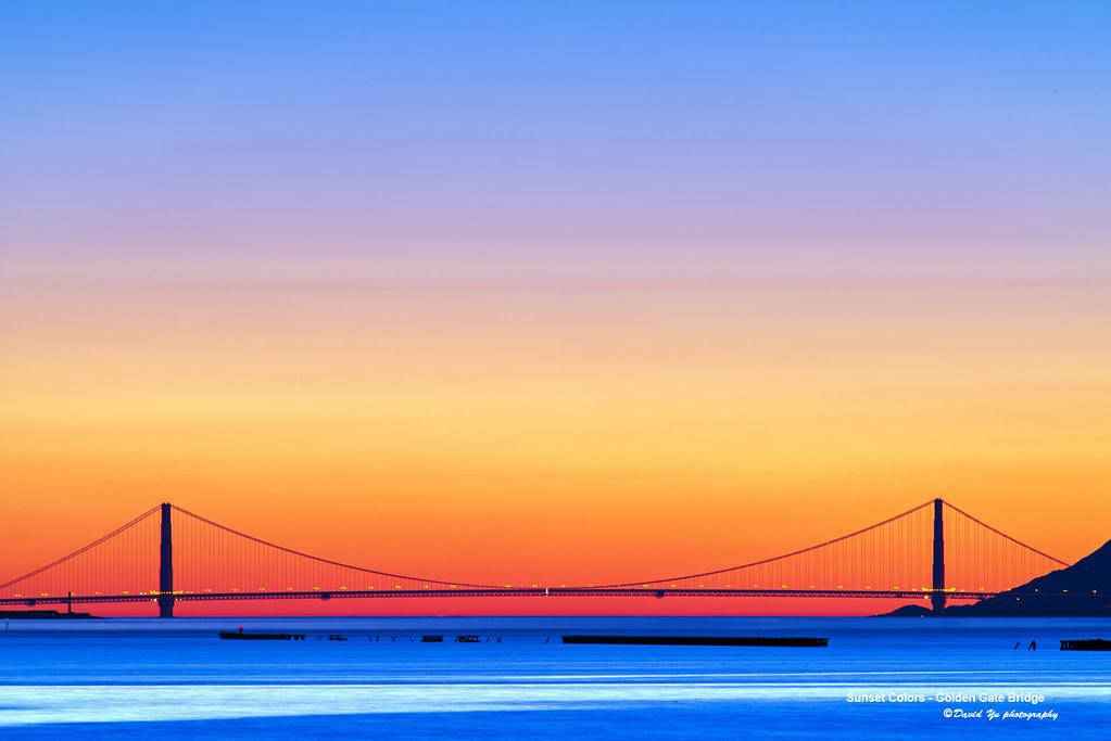 Sunset Colors Golden Gate Bridge Layers Of Gradient