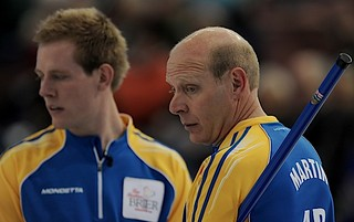 Edmonton Ab.Mar4,2013.Tim Hortons Brier.Alberta skip Kevin Martin,lead Karrick Martin.CCA/michael burns photo | by seasonofchampions