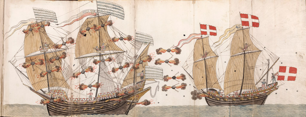 the Swedish Warship Mars is Under Attack by a dannish or holy roman imperial ship