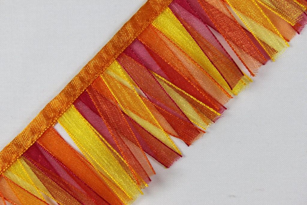 Stoff-Fransenborte, orange-pink-gelb