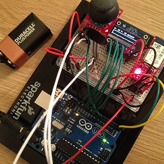 So proud of this #arduino controller - managed to write code that connects Bluetooth, uses joystick, pressure sensor & LCD display | by remysharp