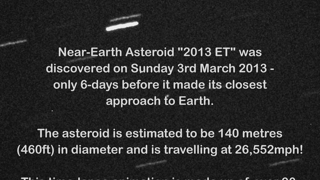 Unexpected Near-Earth Asteroid 2013 ET Closest Approach