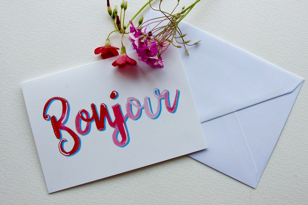 Prints of my hand painted greeting cards Bonjour