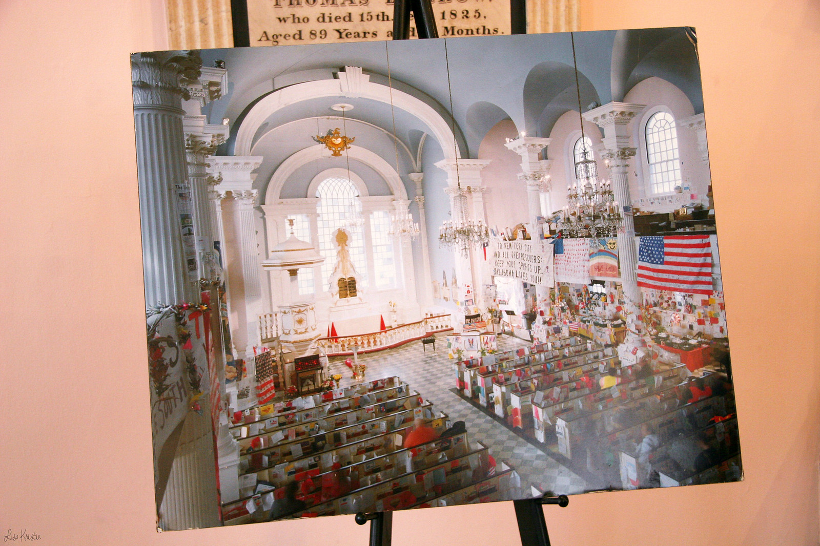 Saint Paul's Chapel church lower manhattan new york city inside interior exhibition 9/11 september 11th 2001 memorial photograph picture ground zero world trace center wtc