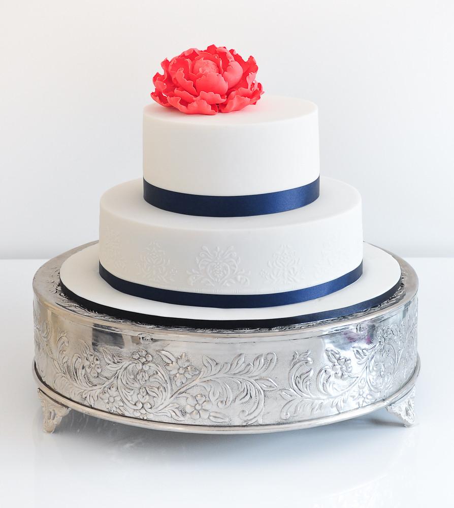 Navy blue and white wedding cake | Cake Teacher | Flickr