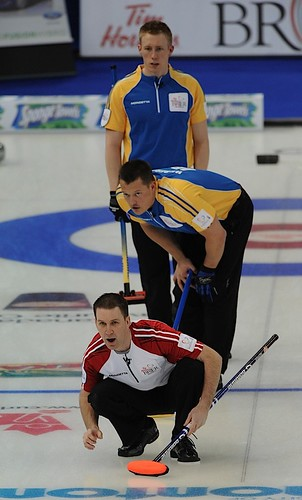 Edmonton Ab.Mar8,2013.Tim Hortons Brier.N.L.skip Brad Gushue,Alberta lead Ben Hebert,second Marc Kennedy.CCA/michael burns photo | by seasonofchampions