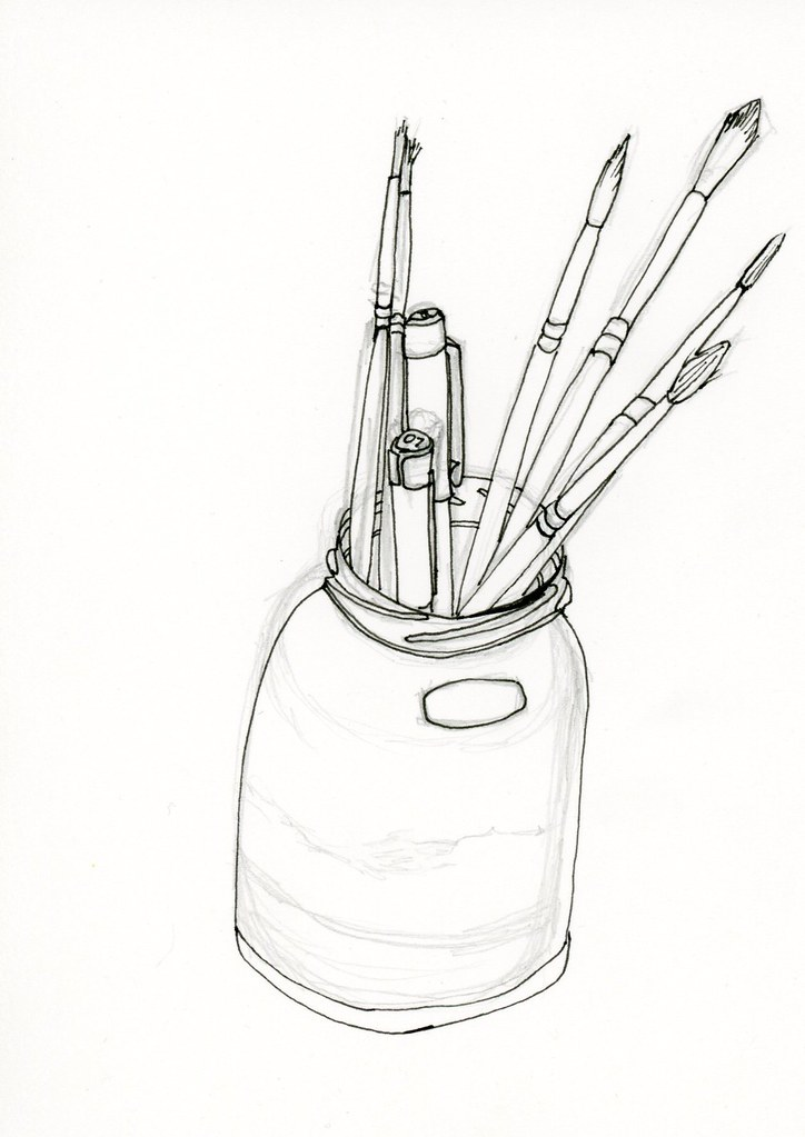 Jar Of Pens And Paint Brushes Jar Of Pens And Paint