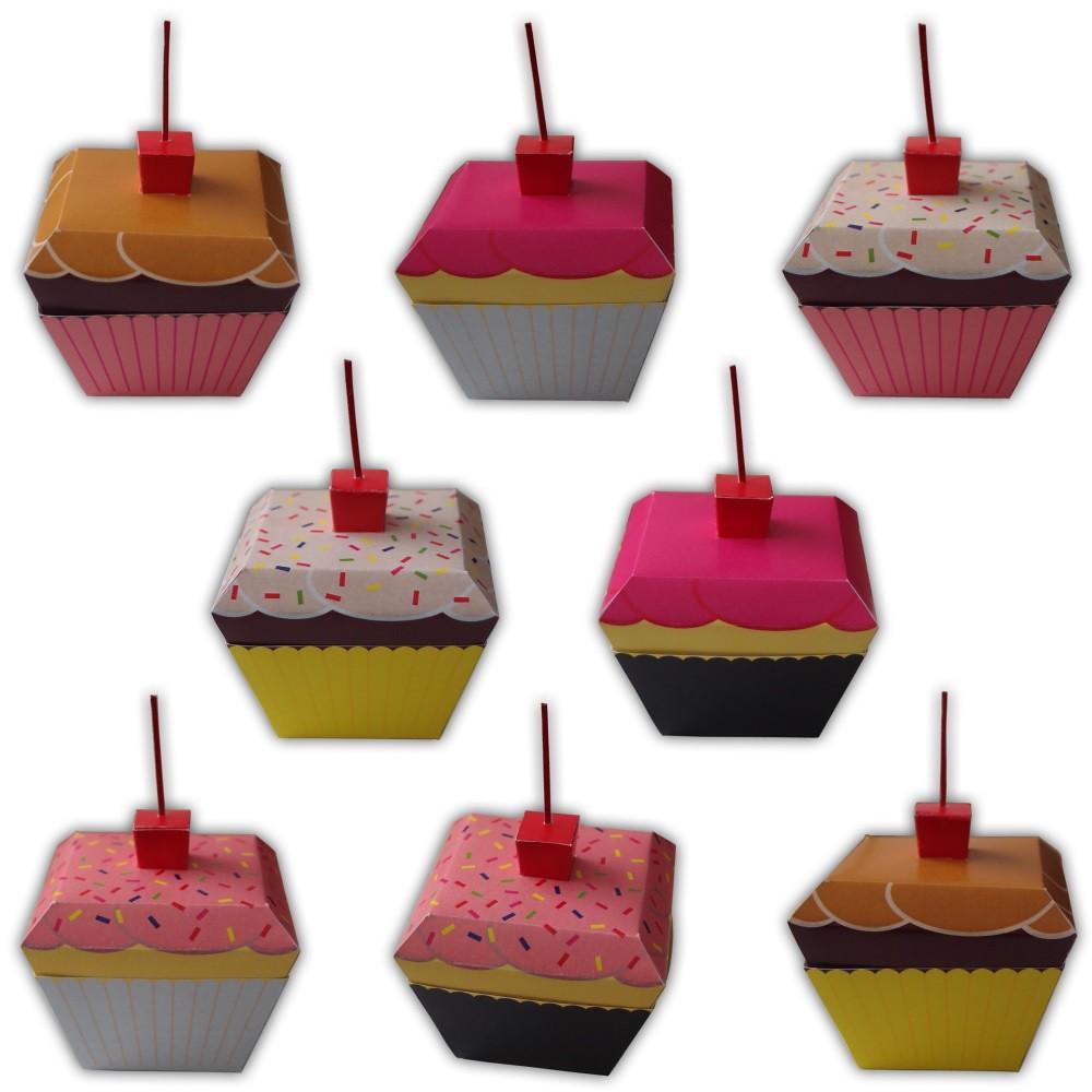 cupcake gift box favors printable color template pdf