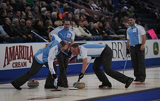 Edmonton Ab.Mar4,2013.Tim Hortons Brier.Quebec skip Jena Michel Menard,third Martin Crete,second Eric Sylvain,lead Phillippe Menard.CCA/michael burns photo | by seasonofchampions