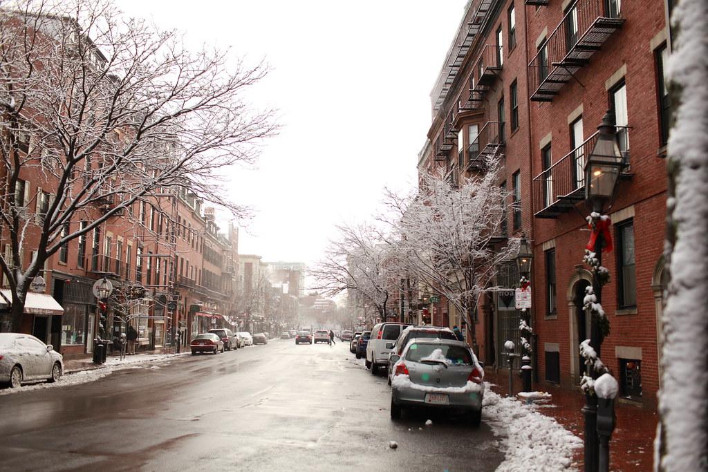 winter in beacon hill  back bay  boston