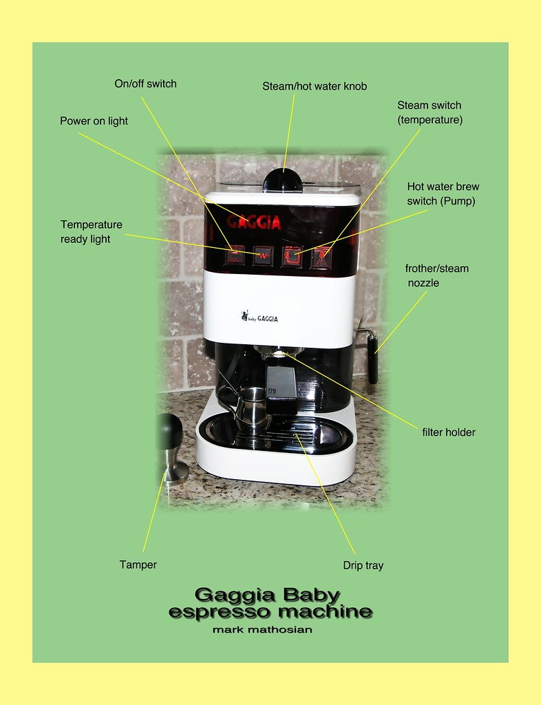 Gaggia Baby Labeled Parts Directions For Making Espresso