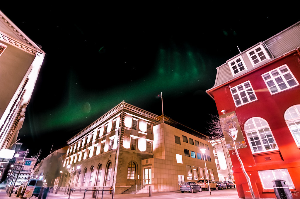 Northern Lights dance in the city