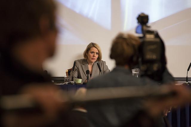 PST-sjef Benedicte Bjørnland då ho la fram trugselvurderinga i 2013. Foto: PST