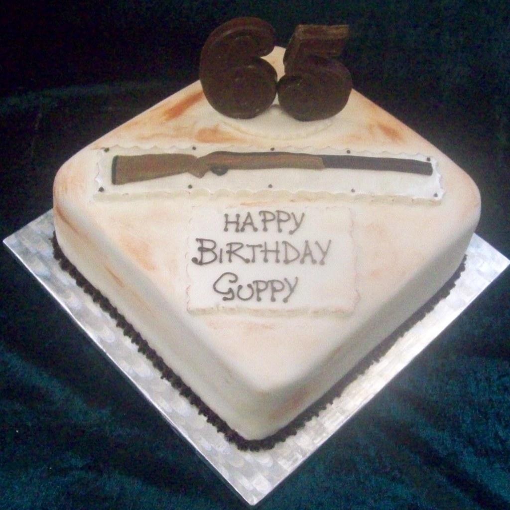 Rifle Shotgun Mens 65th Birthday Cake