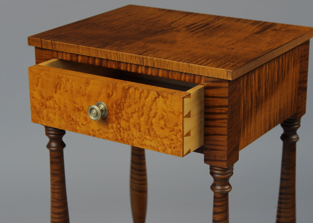 Curly maple nightstand custom made by doucette and wolfe f for Maple furniture
