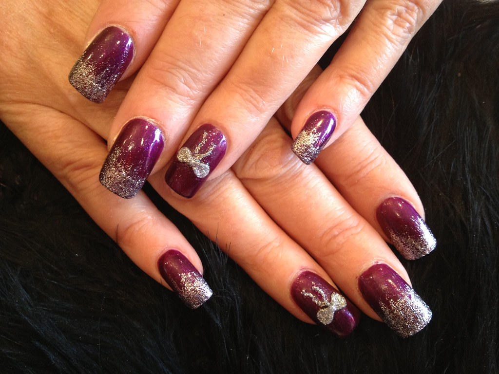 Burgundy nails with silver glitter fade and silver 3d acry… | Flickr