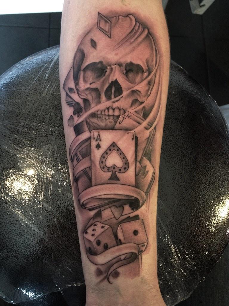 skull john lewis tattoo gambling sleeve tattoosbylewis flickr. Black Bedroom Furniture Sets. Home Design Ideas