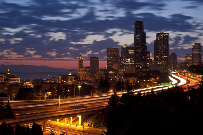 Seattle Skyline with city lights and I-5 traffic | Seattle s