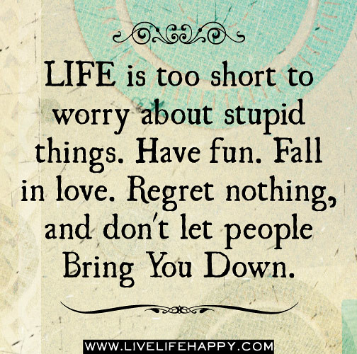Live Your Life Crazy Quotes: Life Is Too Short To Worry About Stupid Things. Have Fun