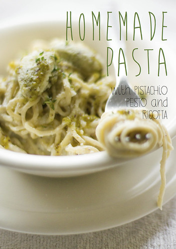 Pasta with pistachio pesto and ricotta cheese | by EZ68