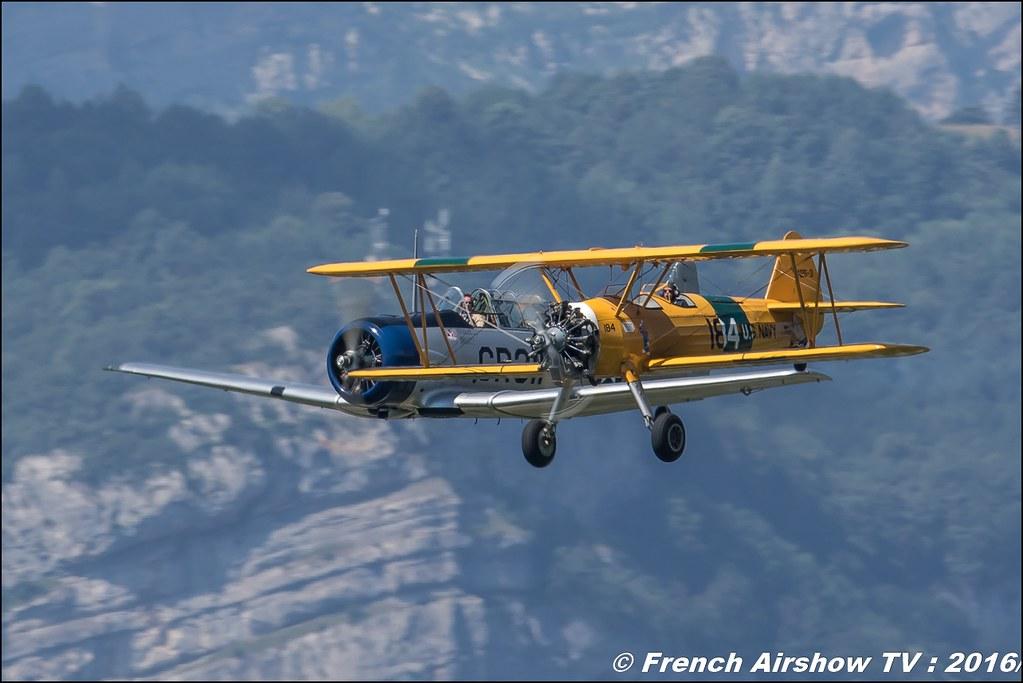 Boeing Stearman PT 18, F-AZST ,Stearman d' Aeroretro Saint Rambert d'Albon et North American T-6G , F-AZTL , Grenoble Air show 2016 , Aerodrome du versoud , Aeroclub du dauphine, grenoble airshow 2016, Rhone Alpes