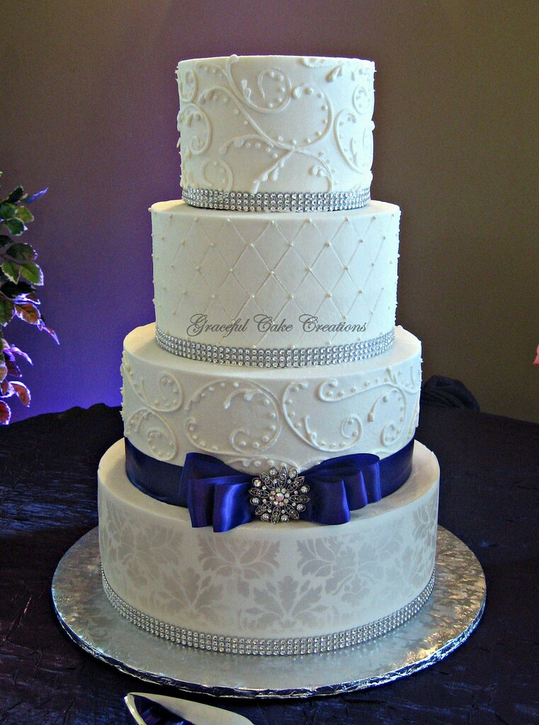 Elegant White Damask Wedding Cake Grace Tari Flickr