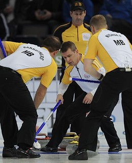 Edmonton Ab.Mar7,2013.Tim Hortons Brier.Manitoba skip Jeff Stoughton,second Reid Carruthers,lead Mark Nichols.CCA/michael burns photo | by seasonofchampions
