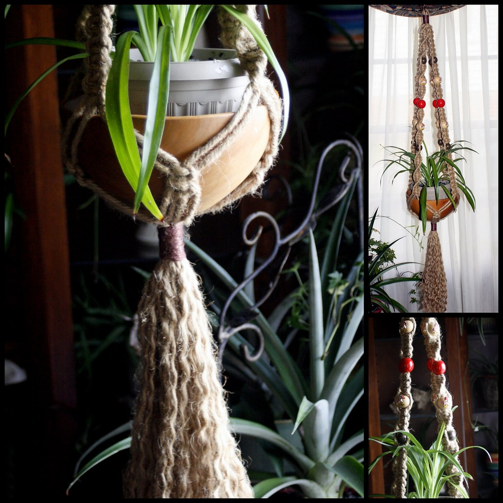 Handmade Jute Baskets : Mushroom basket natural jute handmade macrame plant hanger