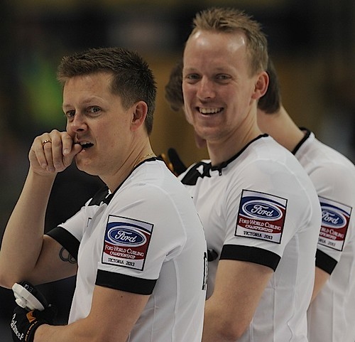 Victoria B.C.April 4,2013.Ford Men's World Curling Championship.Denmark third Johnny Frederiksen,second Mikkel Adrup Poulsen.CCA/michael burns photo | by seasonofchampions