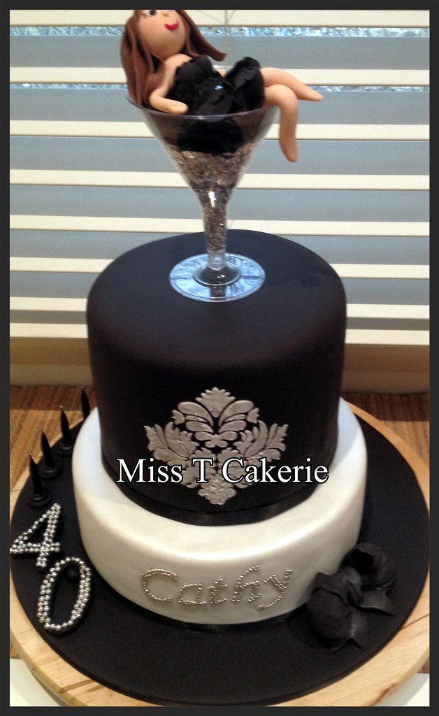 Lady In Champagne Glass Birthday Cake