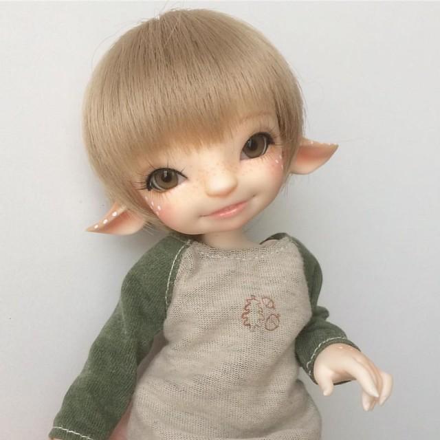 Le he cambiado el maquillaje al pequeño Flinn y creo que está más dulce 😍 #FairyLand #pano #flinn #realfee #bjd #tiny