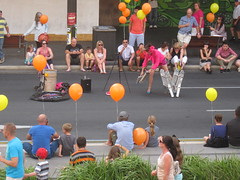 Street performers took centre stage before the parade