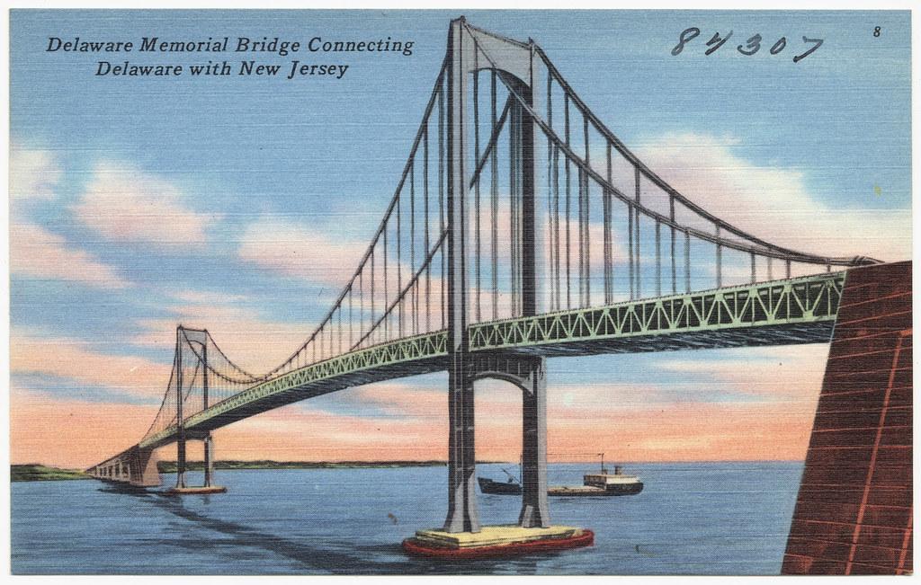 Delaware Memorial Bridge Connecting Delaware With New Jers