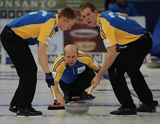Edmonton Ab.Mar4,2013.Tim Hortons Brier.Alberta skip Kevin Martin,lead Karrick Martin,second Marc Kennedy.CCA/michael burns photo | by seasonofchampions